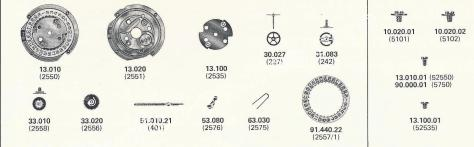 FHF Font 100.101 M8 ST watch date spare parts