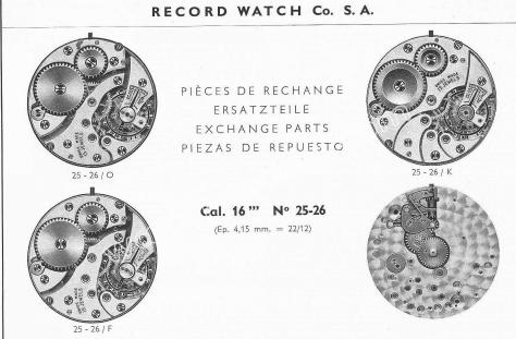 Record 25.26 watch movements