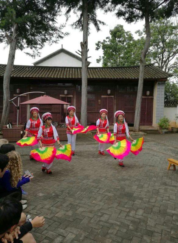 Shaxi fan dance at Old Theatre Inn - Yunnan China