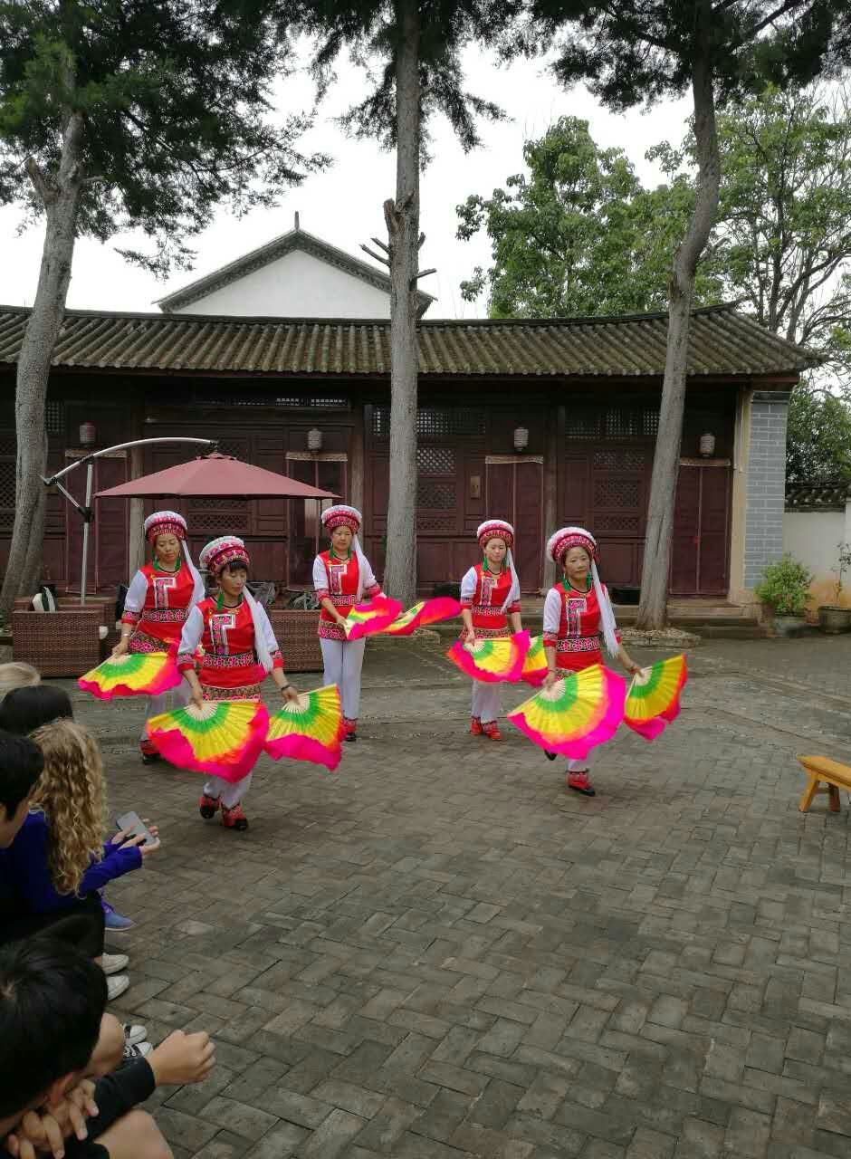 Shaxi fan dance at Old Theatre Inn - Yunnan China