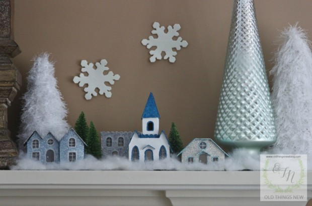 Christmas Mantle with Putz Houses 016