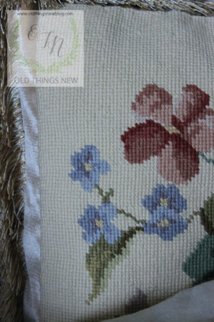 Needlepoint Pillow in Living Room