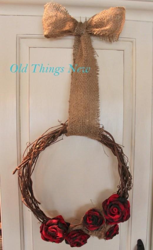 Wool Shirt Rosette Wreath 015-001