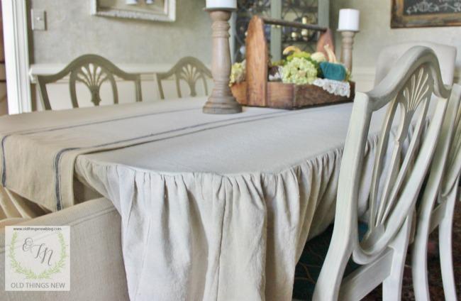 Ruffled drop cloth tablecloth