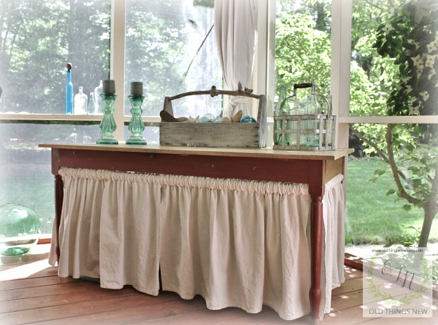 Home decor old things new here are a few other details of our screened porchsleeping porch we found this old farm table when we first moved to sc and i added a drop cloth skirt solutioingenieria Image collections