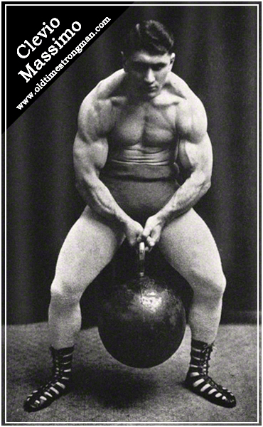 Italian Strongman Clevio Massimo Lifting a Giant Kettlebell