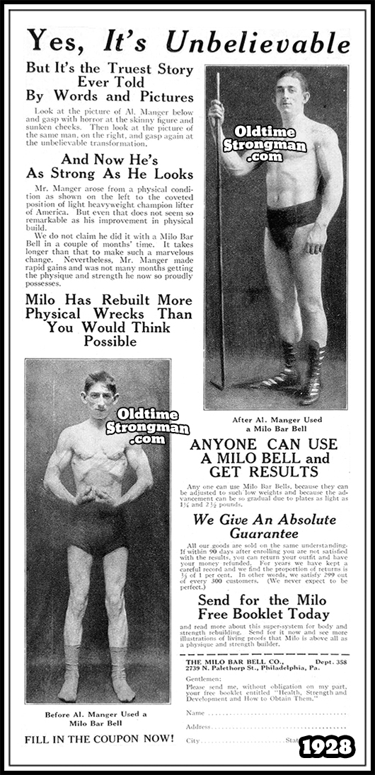 1928 Milo Barbell Advertisement, Featuring Al Manger