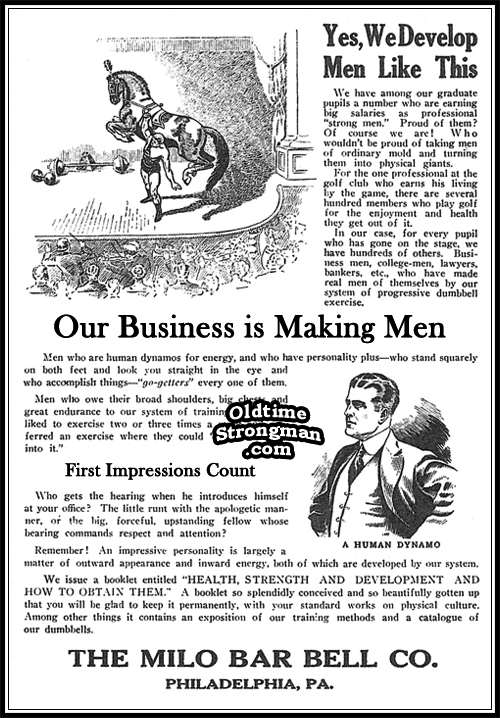 Vintage Milo Barbell Company Advertisement