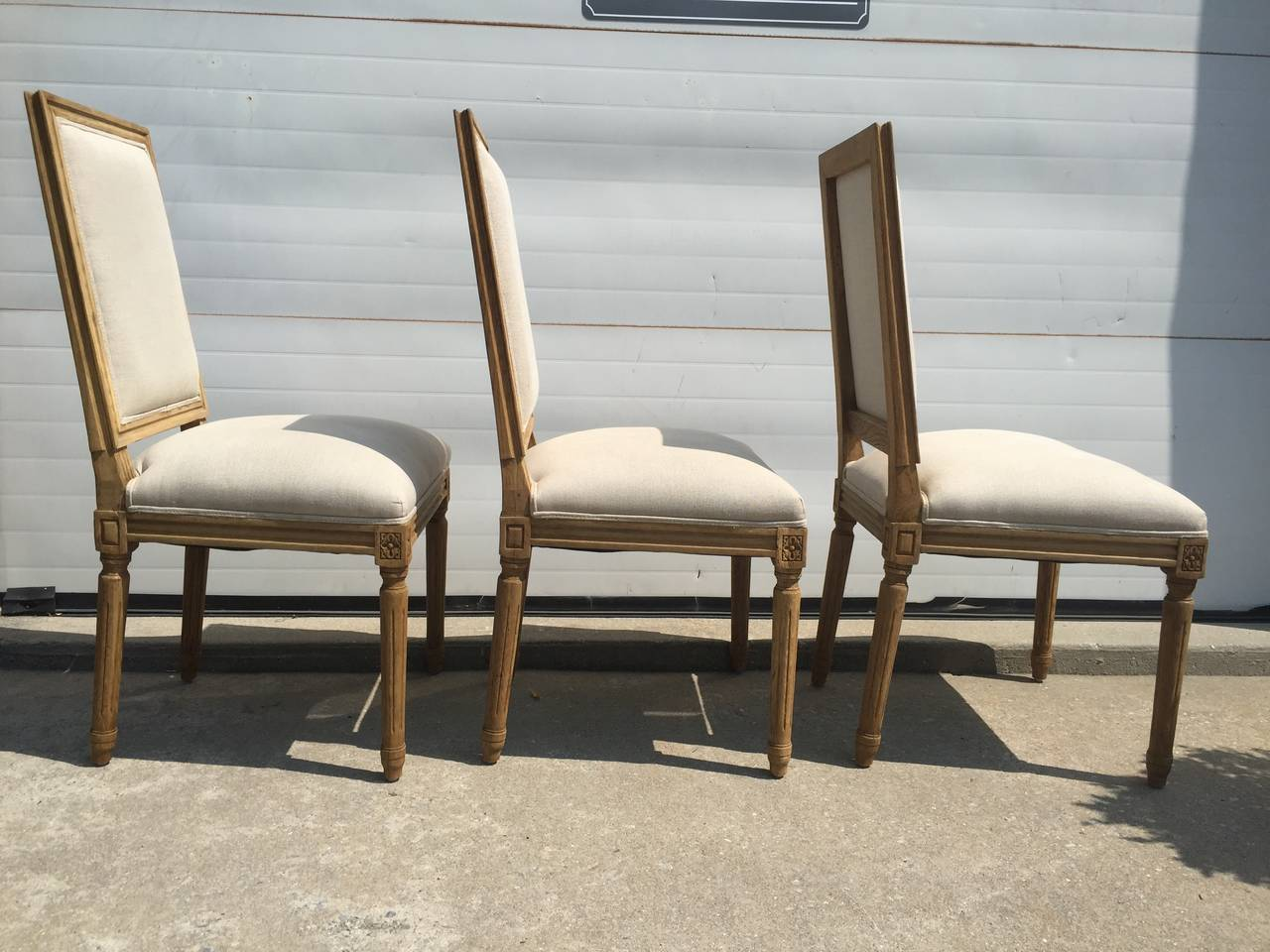 New Square Back French Side Chairs In Belgium Linen
