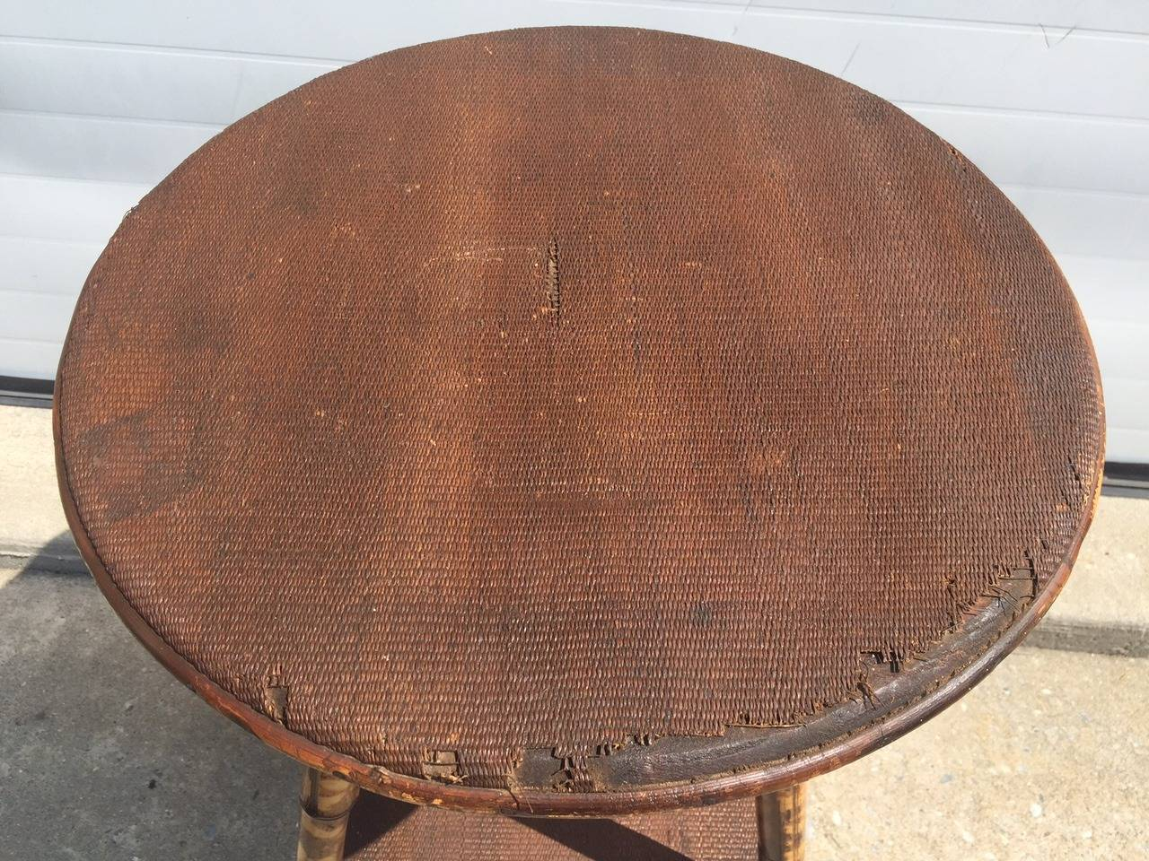 1930s English Scorched Bamboo And Rattan Round Side Table