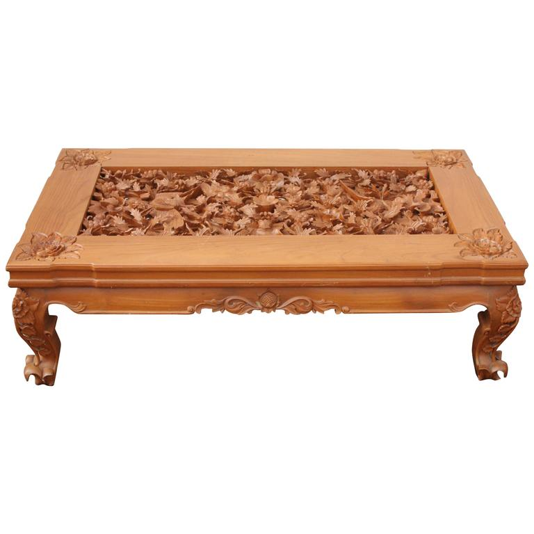 Ordinaire Trompe Lu0027Oeil Realism Foliage Fauna Carved Detail Teak Wood Table With  Glass Top