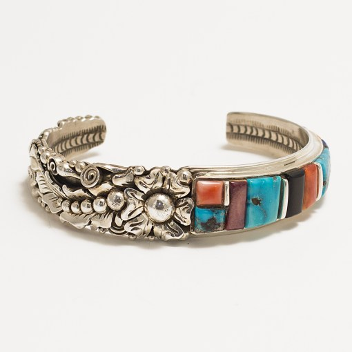 Sterling Silver and Multi-Stone inlay leaf work bracelet by Navajo artist Henry Yazzie