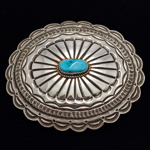 Sterling Silver and Turquoise belt buckle by Navajo artist Leonard Maloney