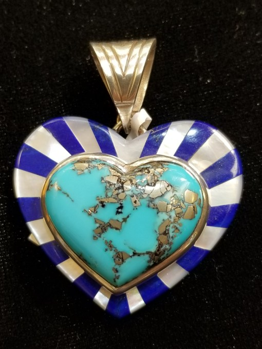 Robert Drozd Morenci Turquoise Heart Pendant
