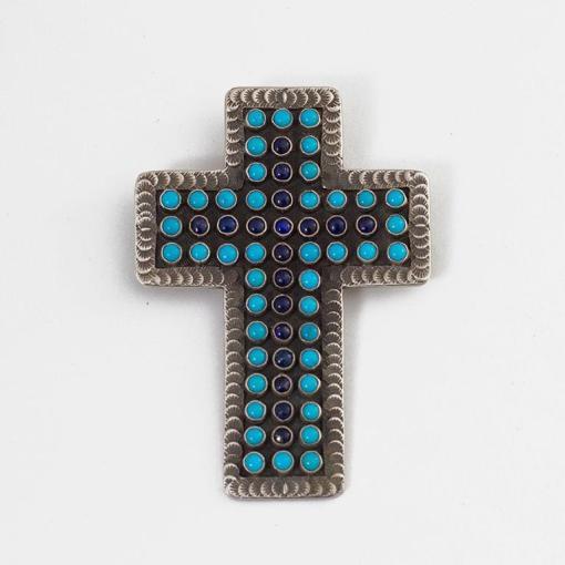 MC Turquoise and Lapis Cross Pendant