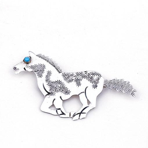 Teddy Yazzie Sterling Horse Pendant