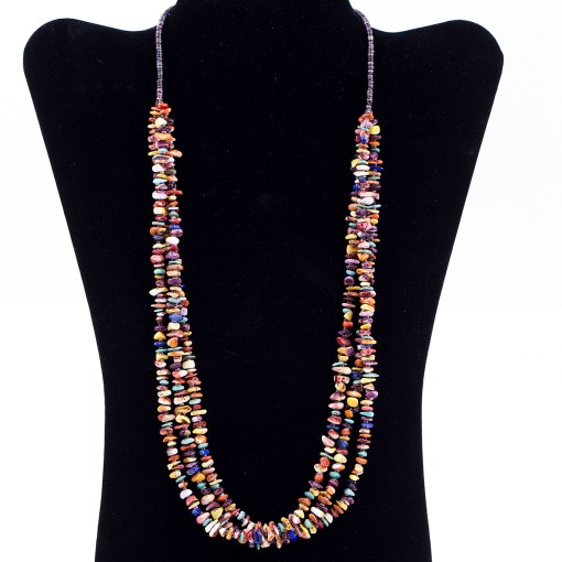 Multi stone 3 Strand Penshell Necklace