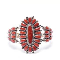 Zuni LW Coral Cuff Bracelet