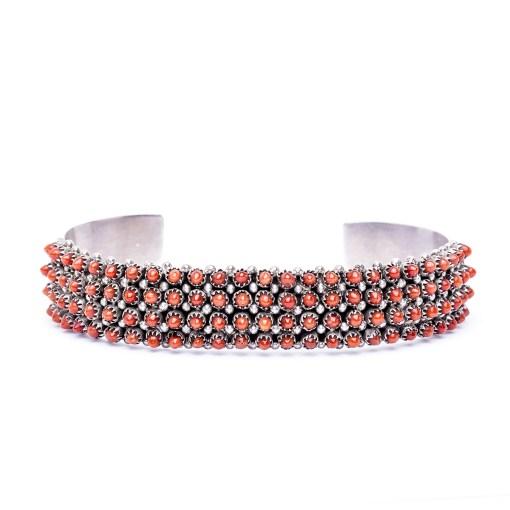 Zuni artist S Haloo Coral Cuff Bracelet