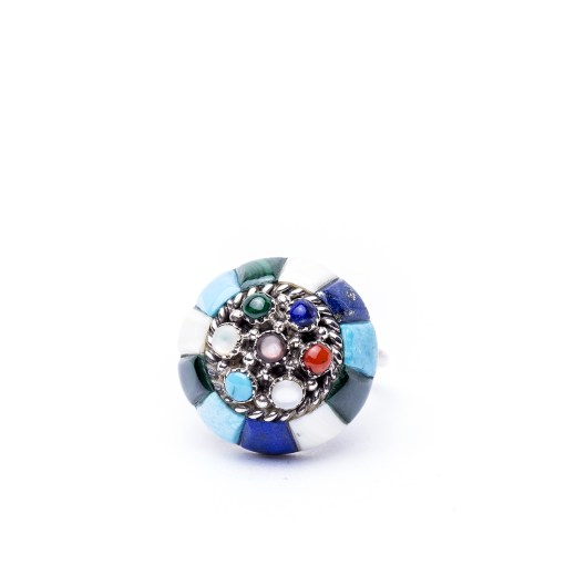 Zuni artist Lee and Mary Weebothee Multi Stone Ring