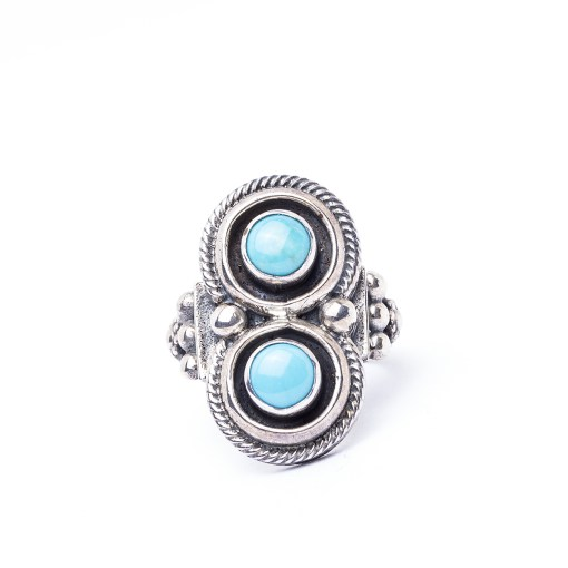 Navajo Roie Jaque Turquoise Two Stone Ring