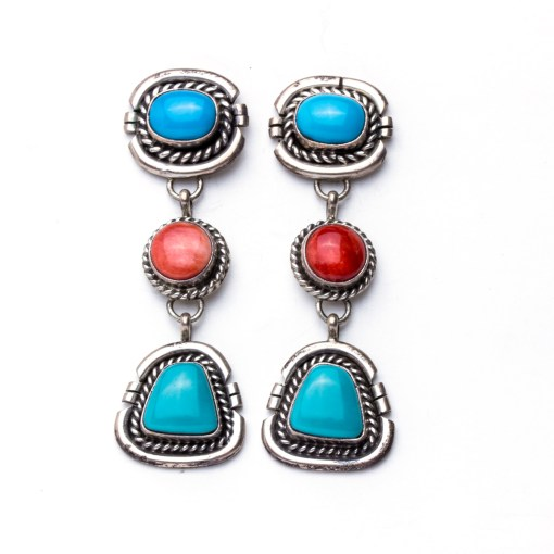 Navajo artist PP Turquoise Earrings showcases brilliant deep blue Turquoise and deep red Spiny Oyster with shining Sterling Silver by this gifted artist!