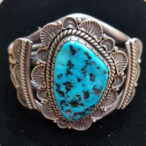 Navajo Kingman Turquoise Bracelet by Henry Yazzie