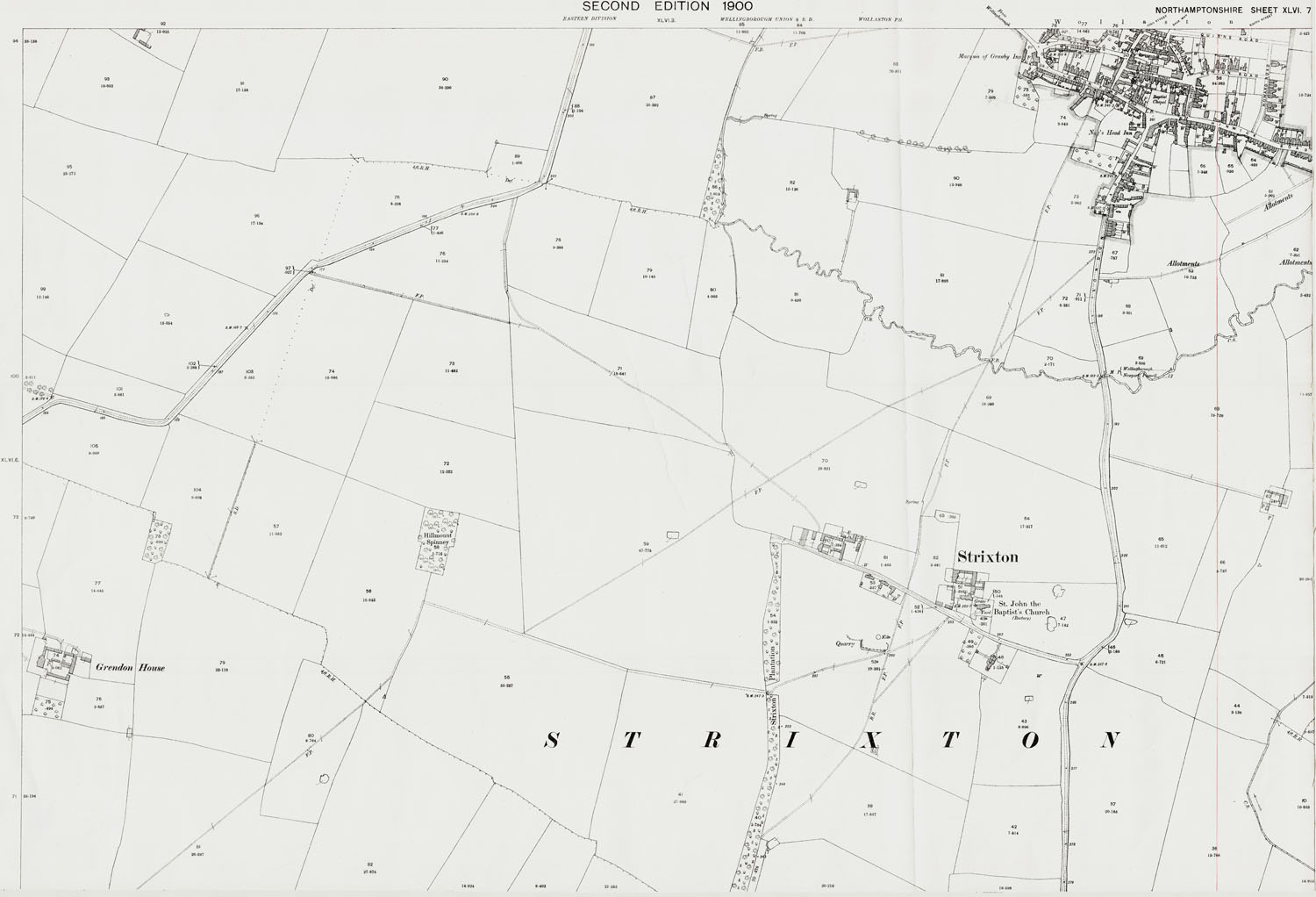 Old Ordnance Survey Map Of Strixton Wollaston South Northamptonshire In