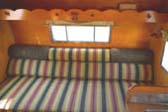 Striped Bedspread in 1962 Shasta Travel Trailer Restored Bedroom Area