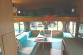 Sleeping Area Above Dining Table in 1963 Shasta Back Entry Trailer