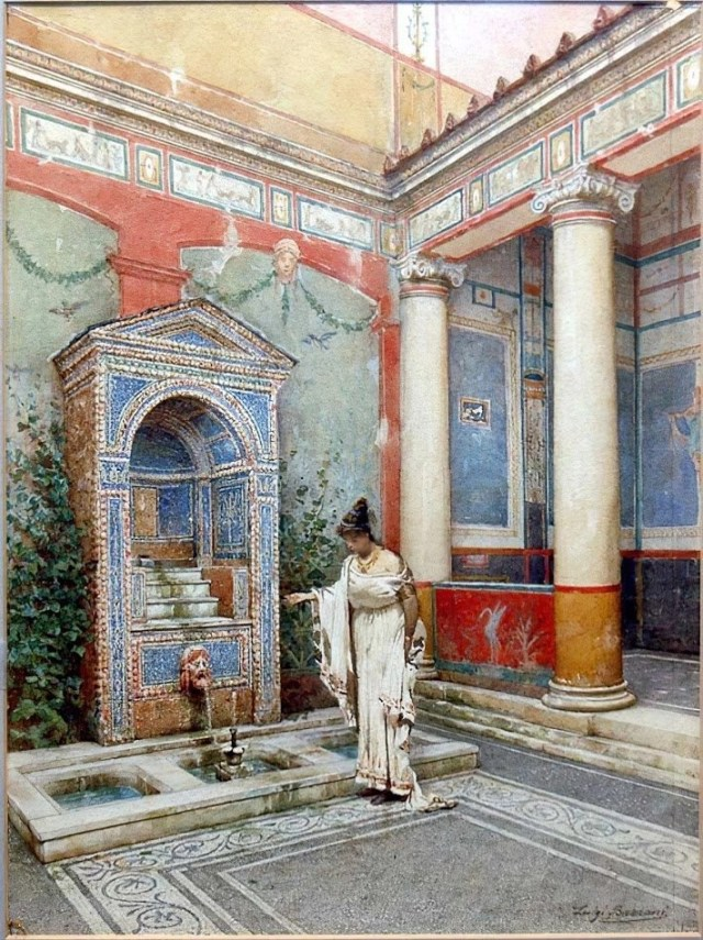 watercolor of Pompeii atrium painted light green, red, and blue