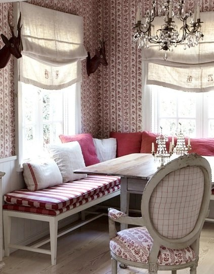 red striped, red checked fabrics