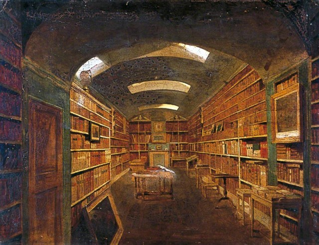 green-walled library