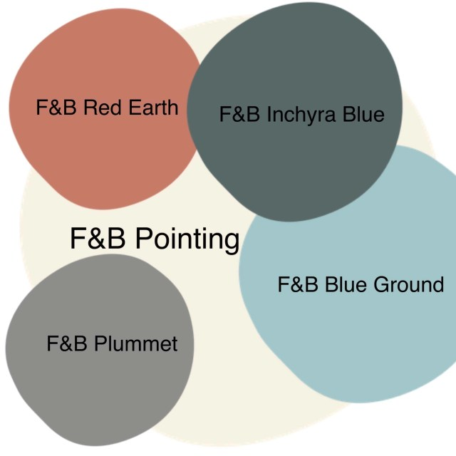 white, red, green, grey, blue paint swatches