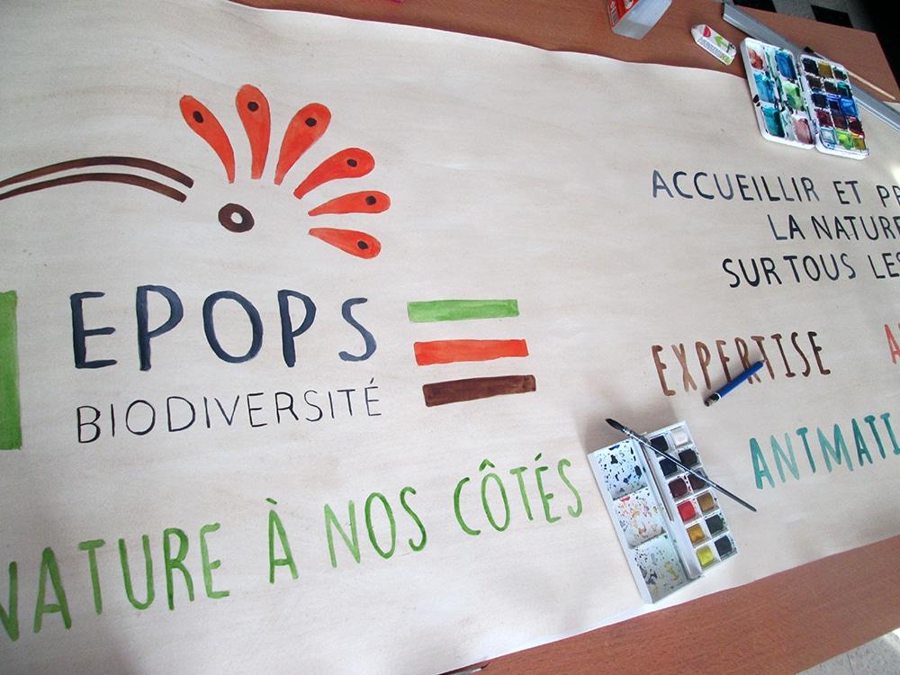 Epops, biodiversité : banderole et affiche peintes à la main