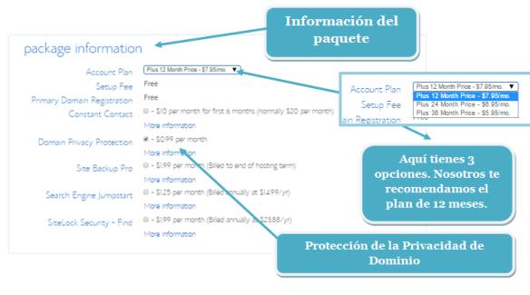 información del paquete