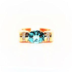 14 Ct. Yellow Gold Caribbean Blue Topaz & Diamond Ring