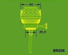 Brander imitatie 20 ligne met lamphouder E27 onderinvoer
