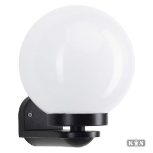 Muurlamp Globe Bol 25 opaal, zwart