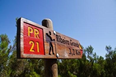 Wandern auf Madeira Schild Ribeira Grande