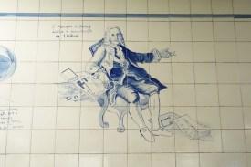 Zeichnung des Marques de Pombal an der Lissabonner U-Bahn