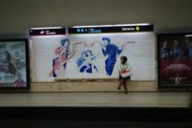 Saldanha - Abreise - Kunst an der Metrohaltestelle in Lissabon