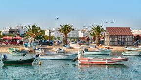 Hafen Fischerboote Algarve Santa Luzia
