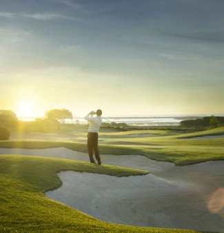 Golfspieler Gegenlicht Golfplatz Algarve