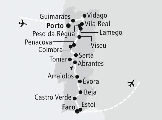 Karte Verlauf Rundreise Portugals Route 66
