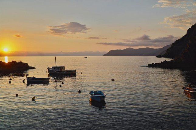 Italien Cinque Terre Riomaggiore Sonnenuntergang