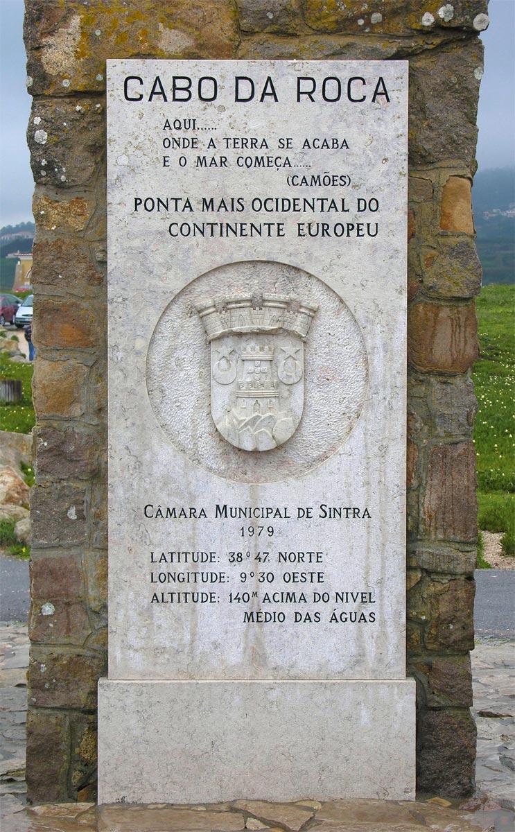 Sintra Cabo Da Roca Inschrift