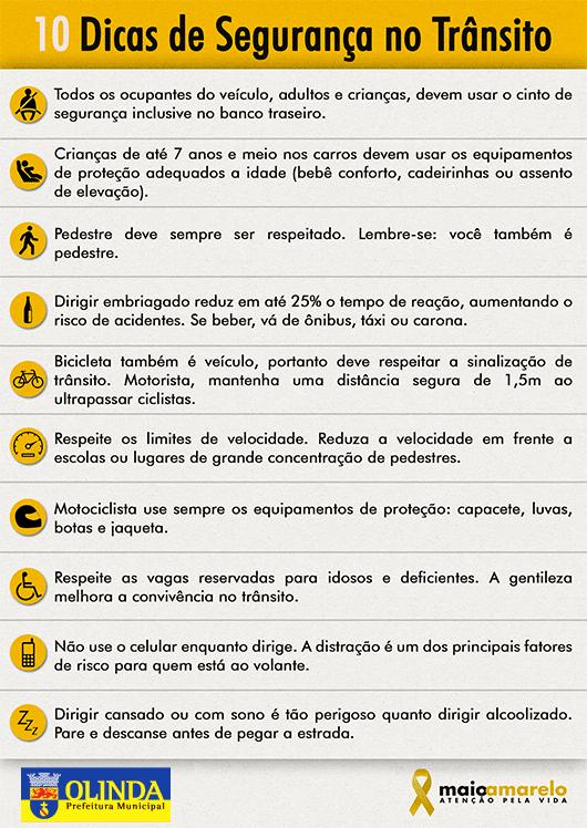 10 dicas de segurança no trânsito - Maio Amarelo