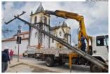 Retirada de postes para embutimento da fiação no Alto da Sé. Foto: Passarinho/Pref.Olinda