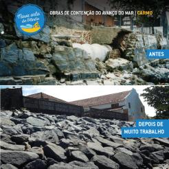 A situação era crítica antes das obras de contenção do avanço do mar. Fotos: Construtora Collier e Diego Galba/Pref.Olinda